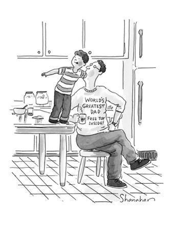 Son reaching down his father's throat. Father's shirt reads: 'World's Grea… - New Yorker Cartoon by Danny Shanahan