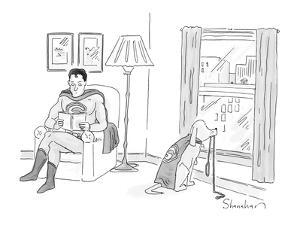 Superman looks at his superhero dog with cape who stares out window waitin? - New Yorker Cartoon by Danny Shanahan