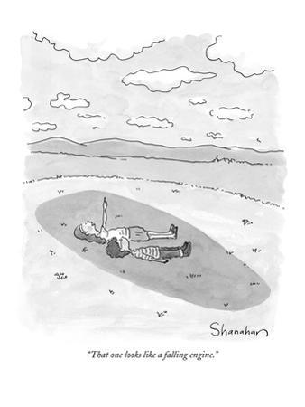 """That one looks like a falling engine."" - New Yorker Cartoon by Danny Shanahan"