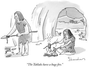 """The Taklaks have a huge fire."" - New Yorker Cartoon by Danny Shanahan"