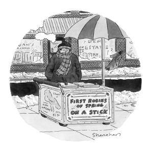 Vendor with a cart stands on a wintertime street. The cart reads: First Ro? - New Yorker Cartoon by Danny Shanahan
