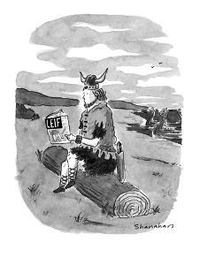 Viking of old, Leif Ericson, sits on log reading a copy of 'LEIF.' - New Yorker Cartoon by Danny Shanahan