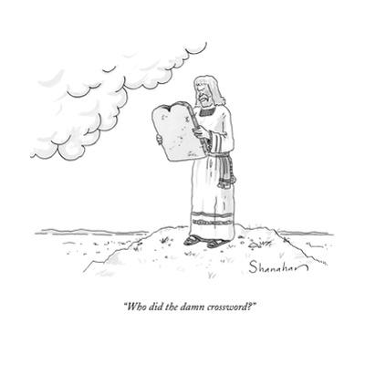 """Who did the damn crossword?"" - New Yorker Cartoon by Danny Shanahan"