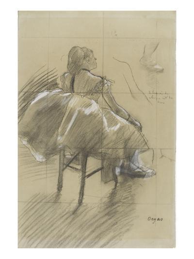 Danseuse assise, de trois quarts à droite-Edgar Degas-Giclee Print