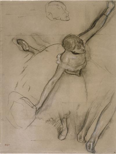 Danseuse au bouquet et étude de bras-Edgar Degas-Giclee Print