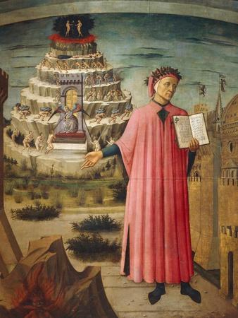 Dante Alighieri with Divine Comedy in His Hand and Mountains of Purgatory in Background