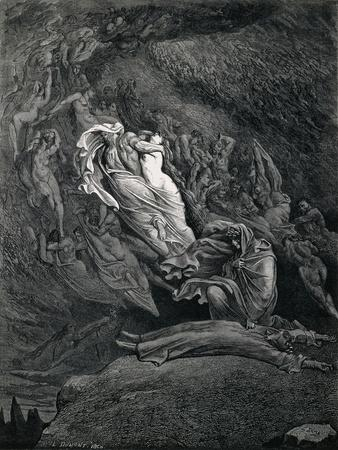 Dante and Virgil with Paolo and Francesca, Illustration to Inferno, Canto V of Divine Comedy