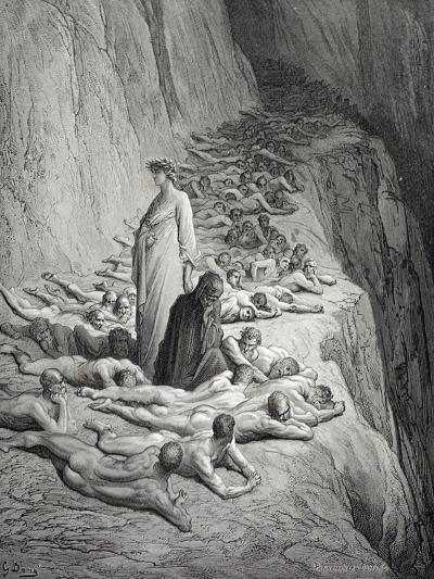 Dante and Pope Adrian V-Gustave Dore-Giclee Print