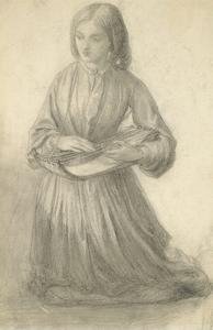 Elizabeth Siddal Playing a Stringed Instrument, C.1852 (Graphite on Off-White Paper) by Dante Gabriel Charles Rossetti