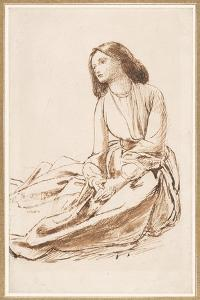 Elizabeth Siddal, Seated on the Ground by Dante Gabriel Charles Rossetti