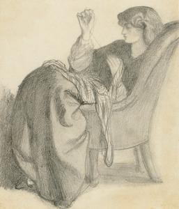 Lachesis: Study of Jane Morris Seated in a Chair Sewing, 1860s by Dante Gabriel Charles Rossetti