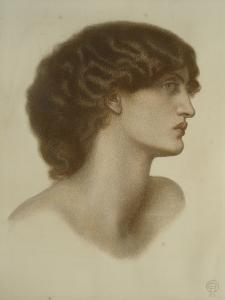 Perlascura, 1871 (Red and Brown Chalks Heightened with White, on Pale Green Paper) by Dante Gabriel Charles Rossetti