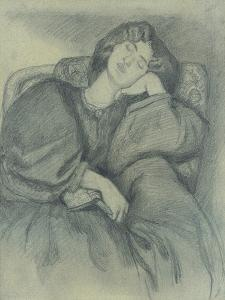 Study of Jane Morris Asleep in an Upholstered Armchair by Dante Gabriel Charles Rossetti