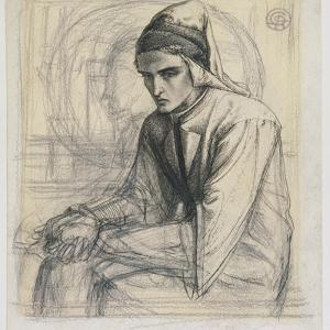 Dante in Meditation Holding a Pomegranate, C.1852 (Pen and Ink and Pencil on Paper) by Dante Gabriel Rossetti