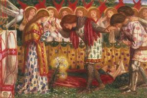 How Sir Galahad, Sir Bors & Sir Percival Were Fed with Sanct Grael; But Sir Percival's Sister Died by Dante Gabriel Rossetti