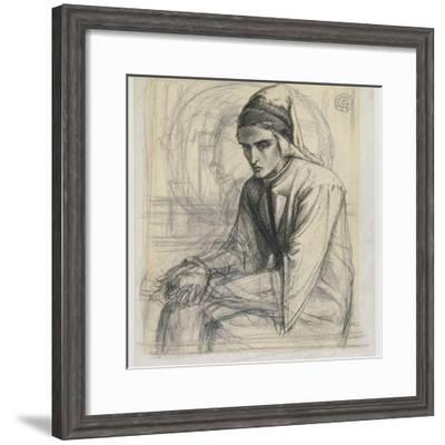 Dante in Meditation Holding a Pomegranate, C.1852 (Pen and Ink and Pencil on Paper)-Dante Gabriel Rossetti-Framed Giclee Print