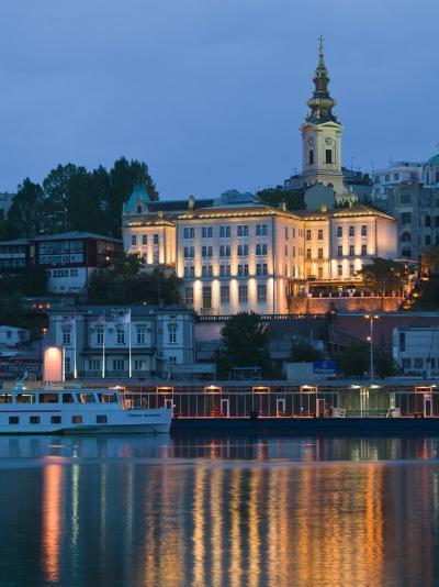 Danube River Barge and Stari Grad, Sava River, Belgrade, Serbia-Walter Bibikow-Photographic Print