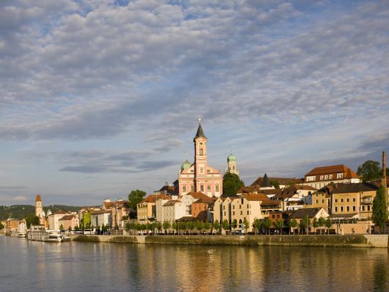 Danube River View with St. Paul church, Passau, Bayern-Bavaria, Germany-Walter Bibikow-Photographic Print