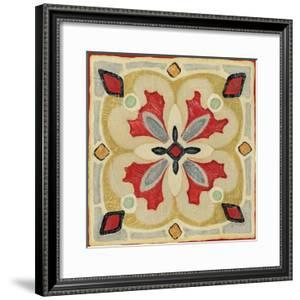 Bohemian Rooster Tile Square III by Daphne Brissonnet