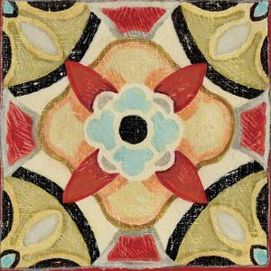 Bohemian Rooster Tile Square IV by Daphne Brissonnet