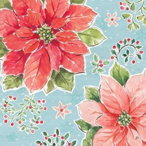 Country Poinsettias III Blue by Daphne Brissonnet