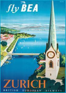 Fly British European Airways to Zurich by Daphne Padden