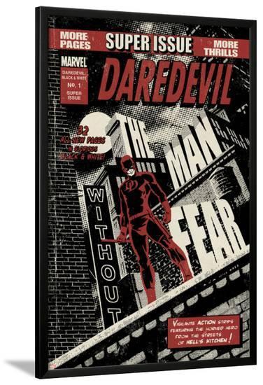 Daredevil Black & White No.1 Cover: Daredevil Standing on a Rooftop-David Aja-Lamina Framed Poster
