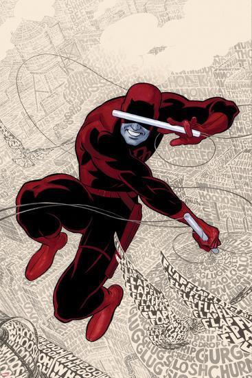 Daredevil No.1 Cover: Daredevl Jumping amidst Sounds-Paolo Rivera-Art Print