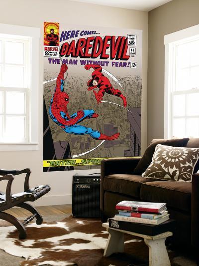 Daredevil No.16 Cover: Spider-Man and Daredevil Charging-John Romita Sr^-Wall Mural