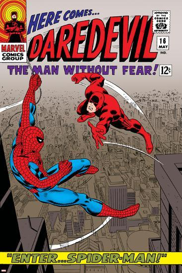Daredevil No.16 Cover: Spider-Man and Daredevil Charging--Art Print