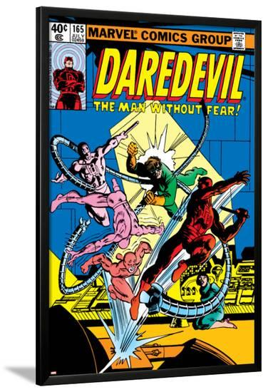 Daredevil No.165 Cover: Daredevil and Doctor Octopus Crouching-Frank Miller-Lamina Framed Poster