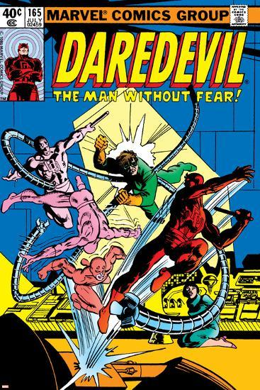 Daredevil No.165 Cover: Daredevil and Doctor Octopus Crouching-Frank Miller-Art Print