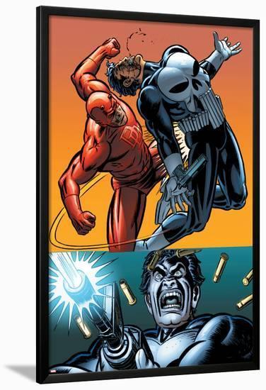 Daredevil Vs. Punisher No.4 Cover: Daredevil and Punisher-Dave Lapham-Lamina Framed Poster
