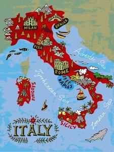 Illustrated Map of Italy. Travel by Daria_I