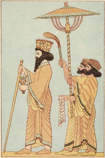Darius I (548-486 B) Achaemenid King of Persia from 521, with Attendants, 1881--Giclee Print