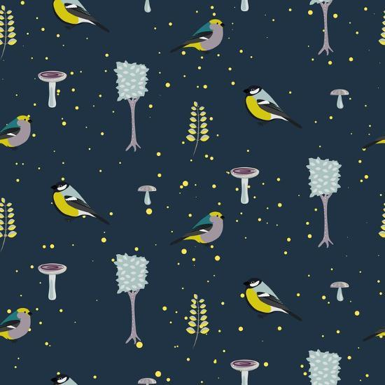 Dark Blue Forest Seamless Pattern with Birds. Trees and Mushrooms Night Forest Background.- YoPixArt-Art Print