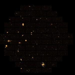 Ngc 1365, the Great Barred Spiral Galaxy, Lower Right, in the Fornax Cluster, 56 M by Dark Energy Survey