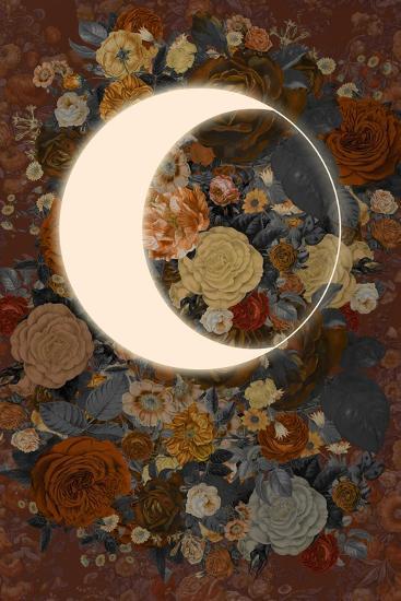 Dark Floral Lunar Eclipse--Art Print