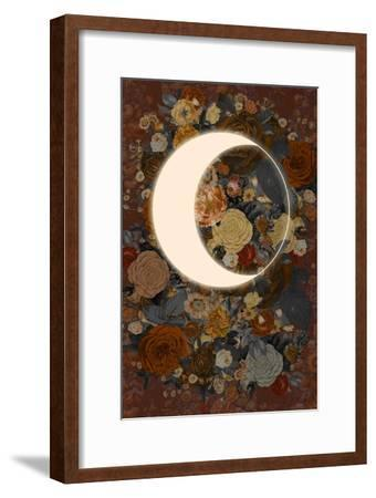 Dark Floral Lunar Eclipse--Framed Art Print