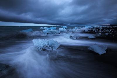 Dark Ice Beach, Jökulsárlón Southern Iceland-Vincent James-Photographic Print