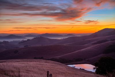 Dark Mood and Sunrise Hills, Petaluma Sonoma County, Bay Area-Vincent James-Photographic Print