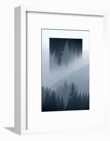 Dark Mountains Forest and Fog - Geometric Reflections Effect-byrdyak-Framed Photographic Print