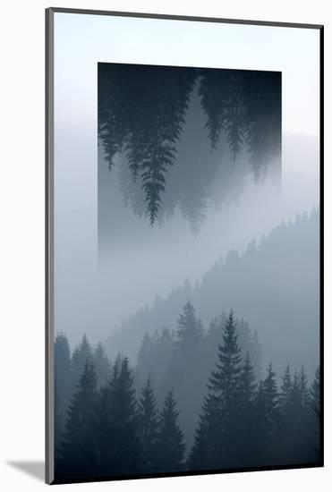 Dark Mountains Forest and Fog - Geometric Reflections Effect-byrdyak-Mounted Photographic Print