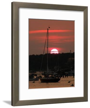 Boats at Sunset in a Harbor in Chatham, Cape Cod, Massachusetts