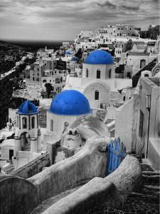 Bell Tower and Blue Domes of Church in Village of Oia, Santorini, Greece by Darrell Gulin