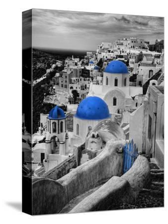 Bell Tower and Blue Domes of Church in Village of Oia, Santorini, Greece