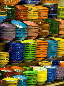 Bowls and Plates on Display, for Sale at Vendors Booth, Spice Market, Istanbul, Turkey by Darrell Gulin