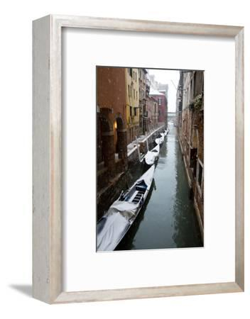 Canal with Snow on Gondolas with Bridge Sigh, Venice, Italy