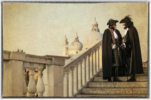 Couple on Bridge During Carnival, Venice, Italy by Darrell Gulin