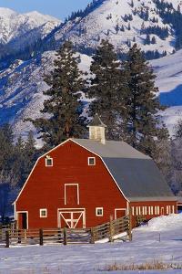 Red Barn in Winter by Darrell Gulin